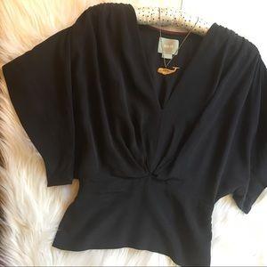 Anthropologie Maeve Kimono Sleeve Silk Top